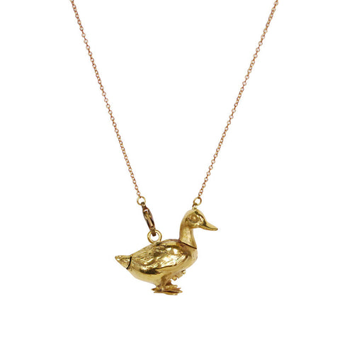 Duck Locket Brass Necklace