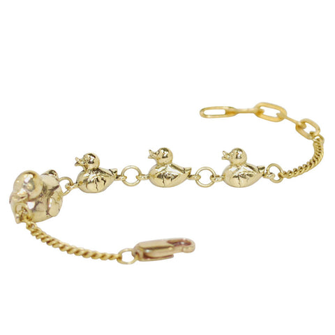 Ducks in a Row Brass Bracelet