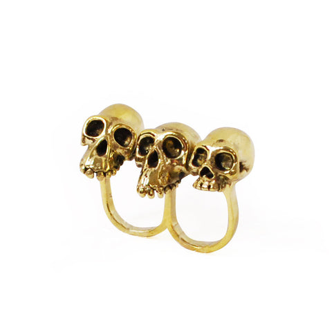 Evolution Skull Knuckle Brass Ring