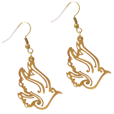 Filigree Birds Brass Earrings