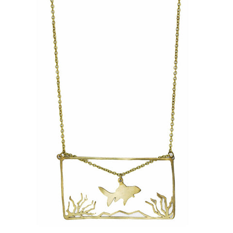 Fish Tank Brass Necklace
