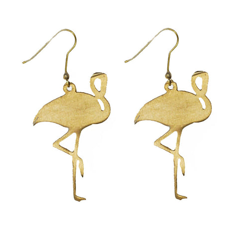 Flamingo Brass Earrings