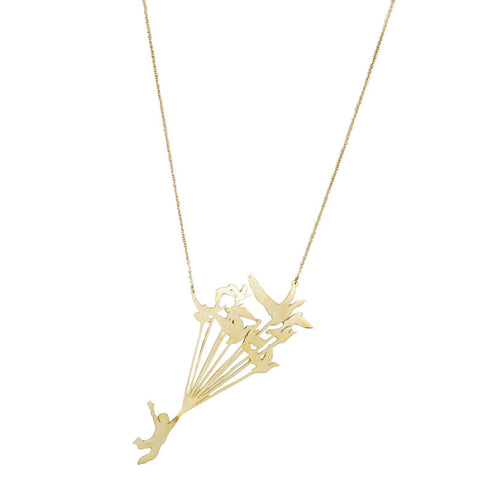 Flying Birds Tied To Man Brass Necklace