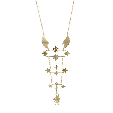 Flying Fleur De Lys Brass Necklace
