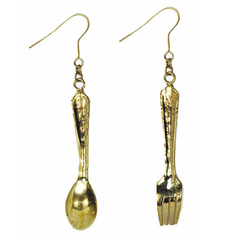 Fork and Spoon Brass Earrings