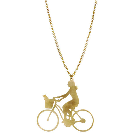 Girl On Bike Brass Necklace