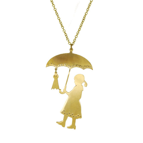 Girl with Umbrella Brass Necklace