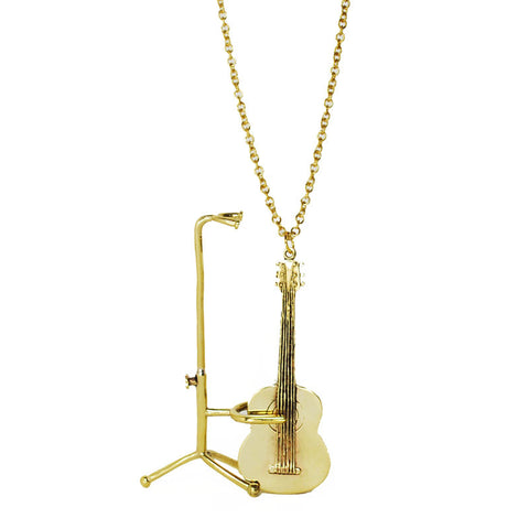 Guitar with Stand Brass Necklace
