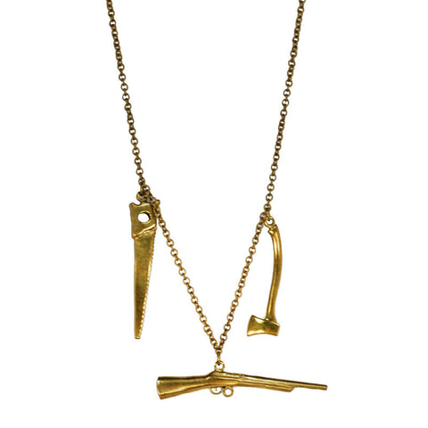 Gun with Saw Brass Necklace