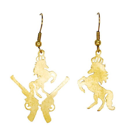 Guns And Stallions Brass Earrings