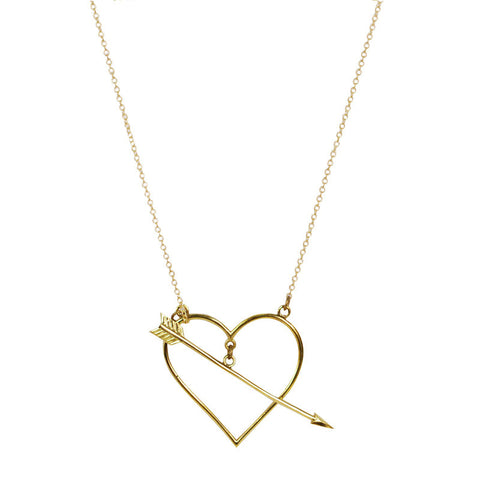Heart And Arrow Brass Necklace