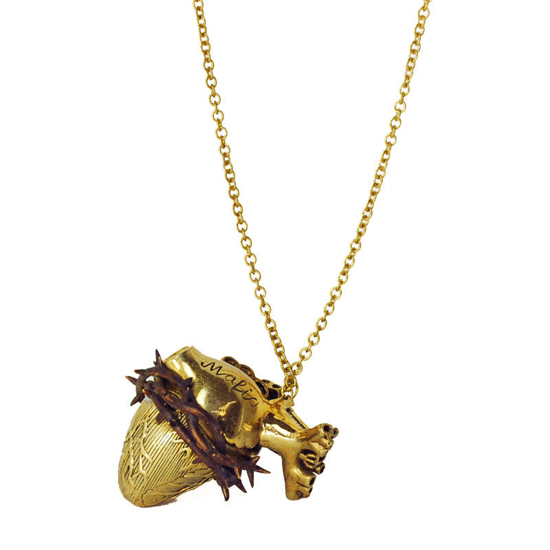 Heart with Thorns Brass Necklace