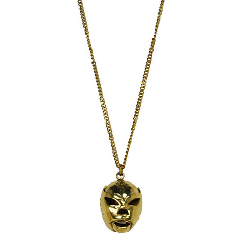 Helmet Mask Brass Necklace