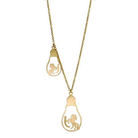 Horse In Bulbs Brass Necklace