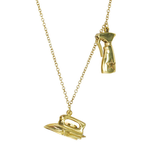 Iron and Spray Bottle Brass Necklace