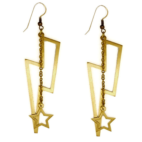 Large Lightning Bolt Brass Earrings