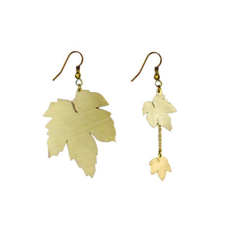 Maple Leaf Brass Earrings