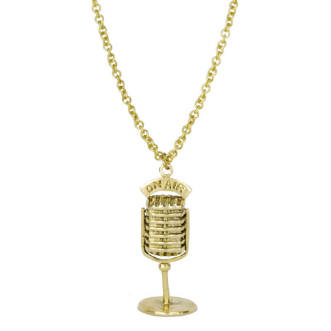 Microphone Brass Necklace