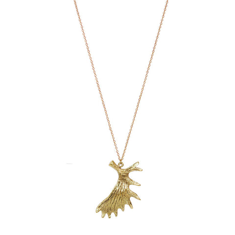 Moose Antler Brass Necklace