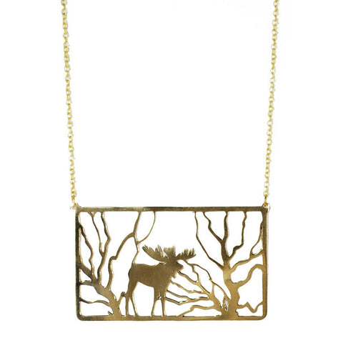 Moose in Forest Brass Necklace