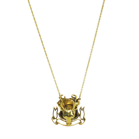 Mounted Longhorn Brass Necklace