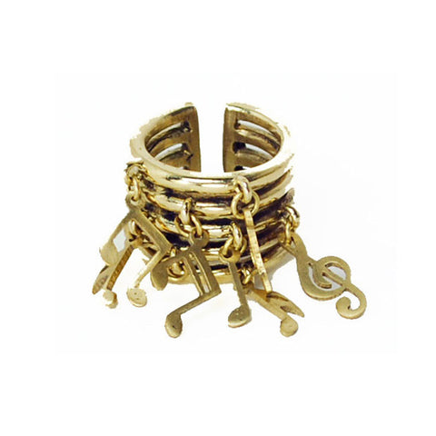 Music Notes Brass Ring