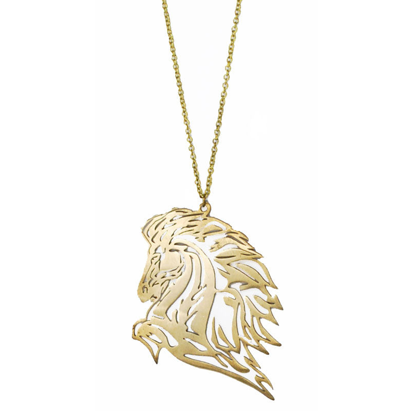 Mustang Horse Brass Necklace