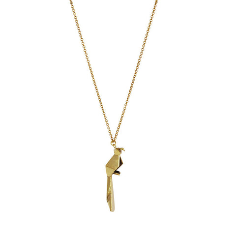 Origami Parrot Brass Necklace
