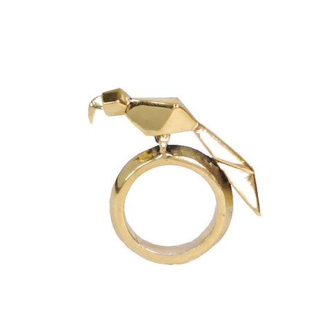 Origami Parrot Brass Ring