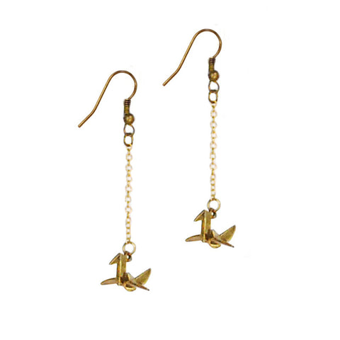 Paper Cranes Brass Earrings
