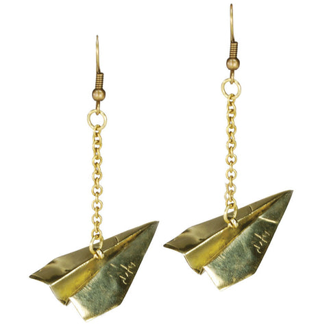 Paper Planes Brass Earrings