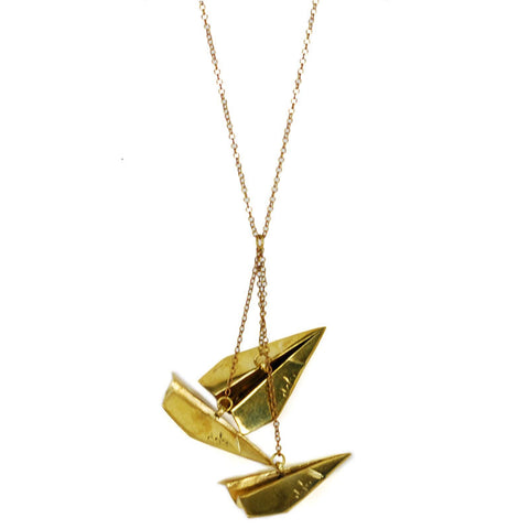 Paper Planes Brass Necklace