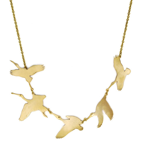 Pelican Flying Brass Necklace