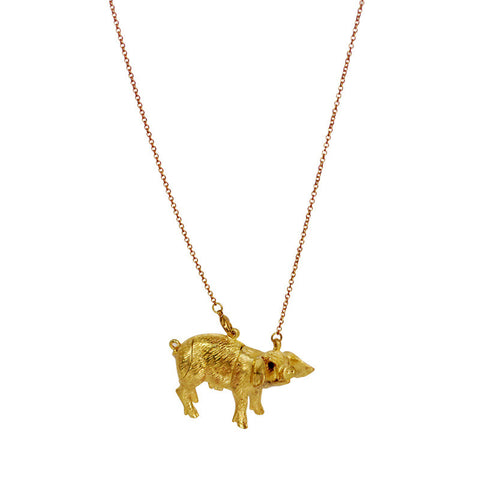 Pig Locket Brass Necklace