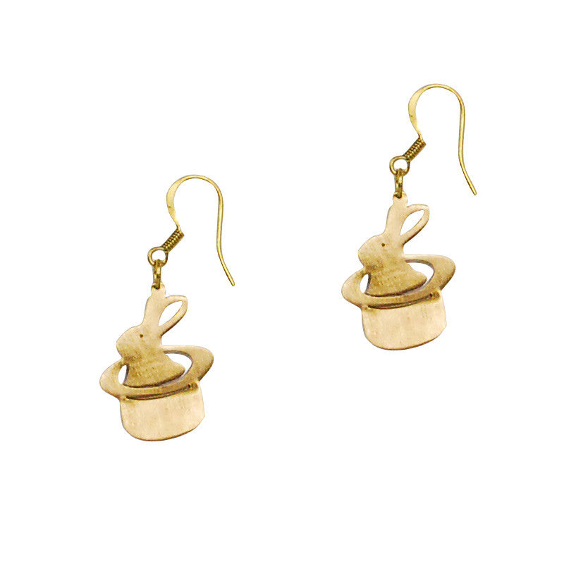 Rabbit In Hat Brass Earrings