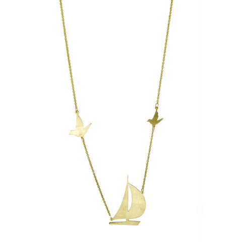 Sailboat Brass Necklace