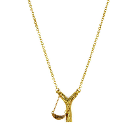 Sling Shot Brass Necklace
