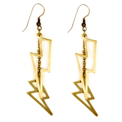 Small Lightning Bolt Brass Earrings