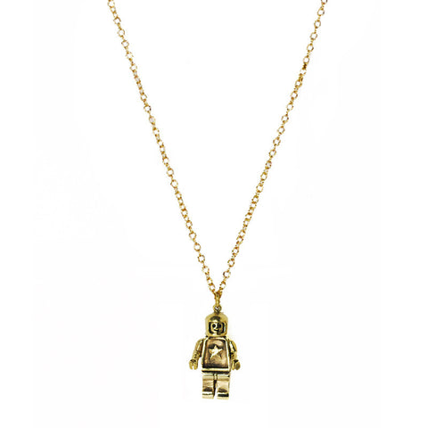 Small Robot Brass Necklace
