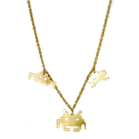 Space Invaders Brass Necklace