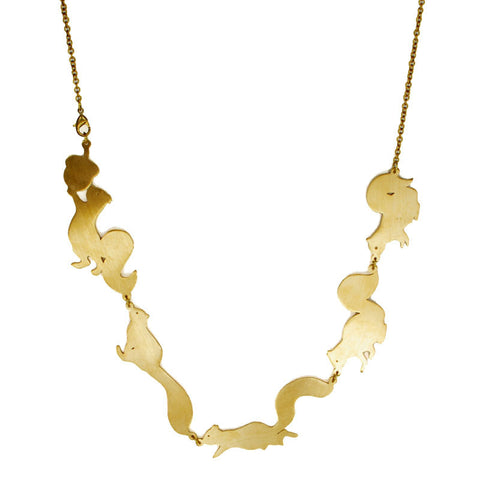 Squirrel Brass Necklace
