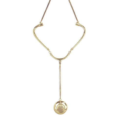 Stethoscope Brass Necklace
