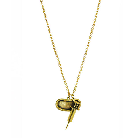 Syringe And Pan Brass Necklace