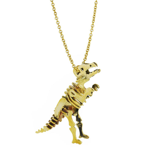 T-Rex Skeleton Brass Necklace