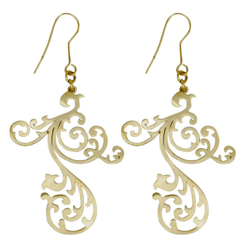 Tendril Brass Earrings