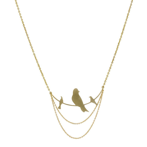 Three Birds on a Branch Brass Necklace