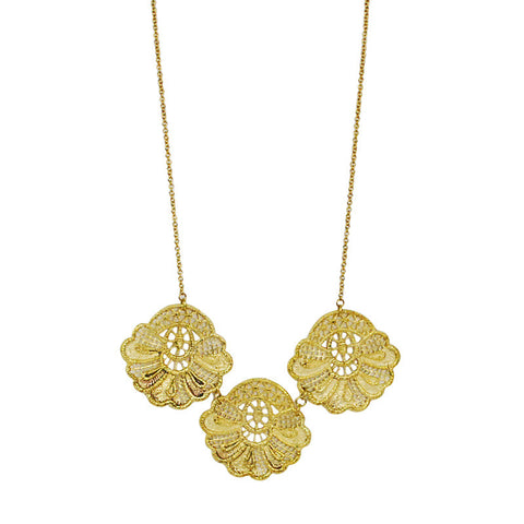 Three Lace Brass Necklace