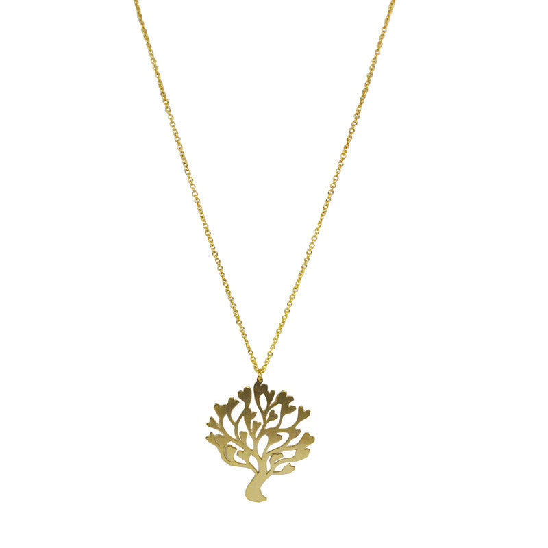 Tree Heart Brass Necklace