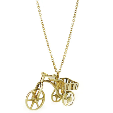 Tricycle Brass Necklace