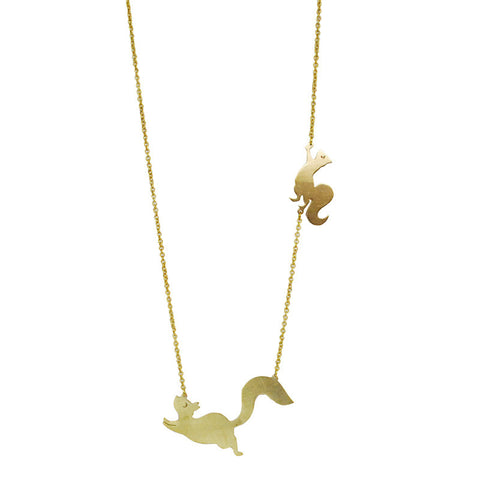 Two Squirrel Brass Necklace